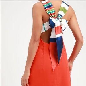 Lulus Orange Multi Stripe Tie-Back Mini Dress